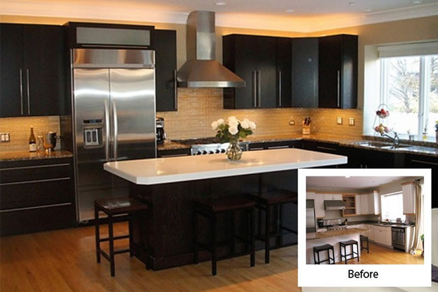 Refacing kitchen cabinets before and after design ideas for Kitchen cabinet refacing